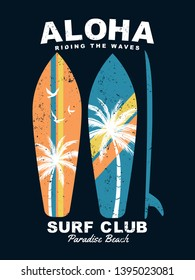 Aloha text with surfboards and palm trees vector illustrations. For t-shirt prints and other uses.