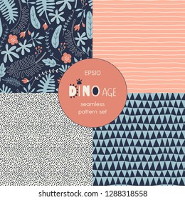 Aloha themed vector seamless background set includes cute exotic leaves and flowers, geometric stripes dots triangle patterns, vector graphics, kids and baby summer textile tee shirt apparel print
