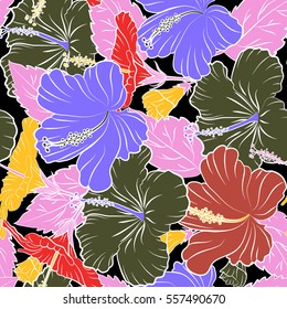 Aloha T-Shirt design. Aloha Hawaii, Luau Party invitation on black background with hibiscus flowers in violet, pink and yellow colors. Vector. Best creative design for poster, flyer, presentation.