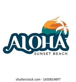 Aloha. A typographical design for aloha and Hawaii. Grunge design aloha Hawaii.