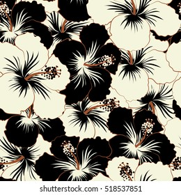 Aloha typography with black and white hibiscus floral illustration for t-shirt print.
