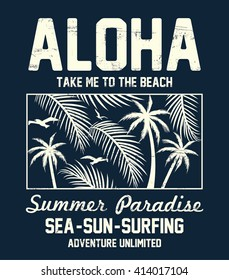Aloha typography with floral illustration for t-shirt print , vector illustration.