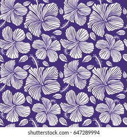 Aloha typography with hibiscus floral illustration for t-shirt print, seamless pattern vector illustration in white color on violet background.