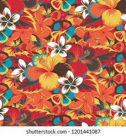Aloha typography with orange, brown and red hibiscus floral illustration for t-shirt print, seamless pattern Vector illustration.