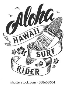 Aloha typography with surfboard illustration for t-shirt print , vector illustration.