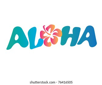 Aloha Vector Lettering with Flower
