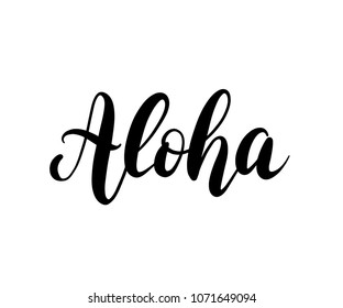 Aloha word lettering. Brush calligraphy. Vector illustration for print on shirt, card Hawaiian text hello phrase.  Graphic printed tee