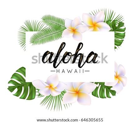 Aloha Word On Palm Leaves Exot...