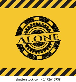Alone black grunge emblem with yellow background. Vector Illustration. Detailed.