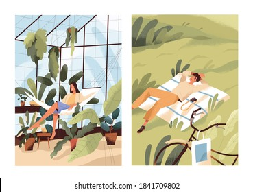Alone with nature, solitude concept. Happy relaxed woman in greenhouse with plants. Single man relaxing or sleeping in the grass. Leisure time, resting indoors vs outdoors. Flat vector illustration