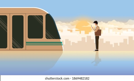 Alone office man first jobber use smartphone waiting in public transportation station for the first train at the early morning sunrise. Active lifestyle of diligent and on time employee salaryman.