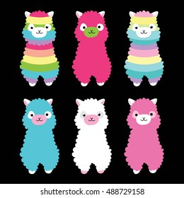 Alpaca animal rainbow color
