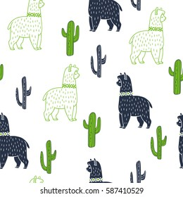 Alpaca and cactus. Vector ornamental seamless pattern. Hand drawn ethnic illustration with lama. Doodle style