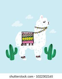 alpaca and cactus vector/illustration