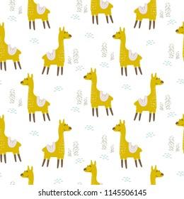 Alpaca cute animal seamless vector pattern.