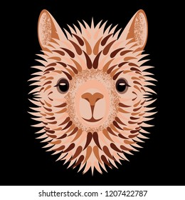 Alpaca face. Vector illustration. Geometric style. Isolated on black background. Animal from Peru. For manufacturers and sellers of wool, yarn, fabrics, blankets and clothing