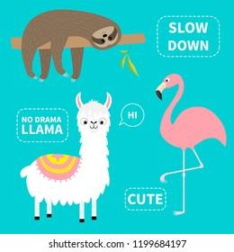 Alpaca, flamingo, sloth set. No drama llama. Slow down. Cute cartoon funny kawaii character. Childish baby collection. T-shirt, greeting card, poster template print. Flat design Blue background Vector
