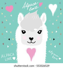 Alpaca with heart portrait