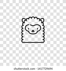 alpaca icon from in the zoo collection for mobile concept and web apps icon. Transparent outline, thin line alpaca icon for website design and mobile, app development
