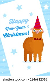 Alpaca on New Year and Christmas Poster for nursery or zoo. Vector Design for Poster and Greeting cards.