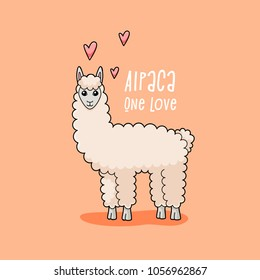 Alpaca one love, cute llama illustration