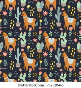 Alpaca seamless pattern