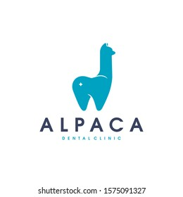 Alpaca tooth vector logo template