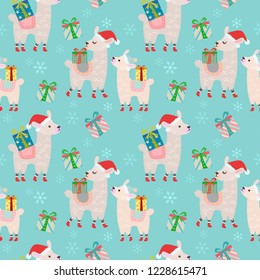Alpacas with gift seamless pattern