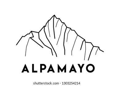 Alpamayo, Peru. Vector black and white illustration of mount. Cordillera, Blanca, Andes. Print design. Hand drawn illustration of mountains in South America