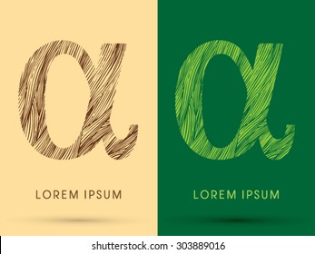 Alpha, Font, concept line stroke , wood and leaf, grass, graphic vector.