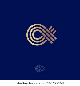Alpha Logo.  Alpha emblem. Greek letter Alpha, consist of gold lines, isolated on a dark-blue background.