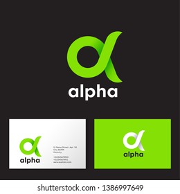 Alpha Logo. A emblem. Green Greek letter Alpha on a dark  background. Business card.