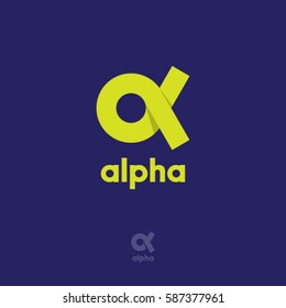 Alpha Logo.  A emblem. Yellow Greek letter Alpha on a blue background.