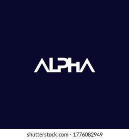 Alpha logo on dark, minimal design