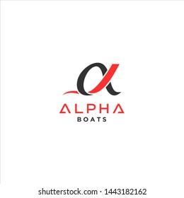 Alpha logo vector, Alpha boat logo