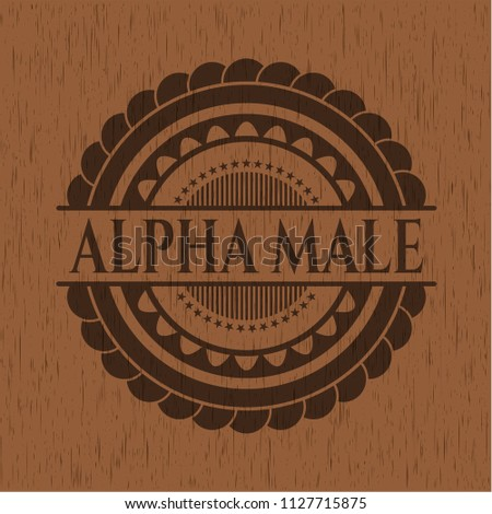 Alpha Male Badge Wood Background Stock Vector (Royalty Free