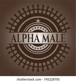 Alpha Male badge with wooden background