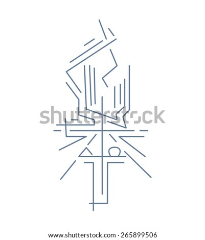 Alpha Omega Cross Hand Drawn Vector Stock Vector Royalty Free