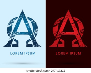 Alpha and omega ,Font Cool and Hot, Ice and Fire, grunge destroy, graphic vector.