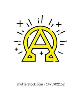 Alpha omega icon. Beginning and end symbol. Greek alphabet concept sign. Eternal God emblem. Vector illustration line icon.