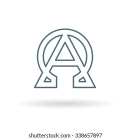 Alpha and Omega icon. Beginning and end sign. Greek symbol. Thin line icon on white background. Vector illustration.
