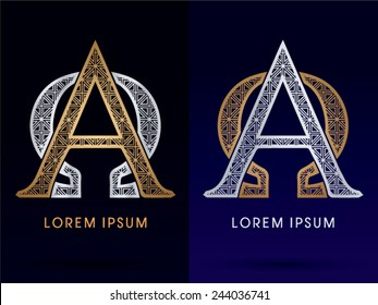 Alpha an omega sign,Luxury font ,gold and diamond, logo, symbol, icon, graphic, vector .