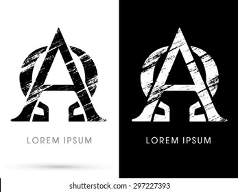 Alpha and Omega,Font grunge destroy, graphic vector.