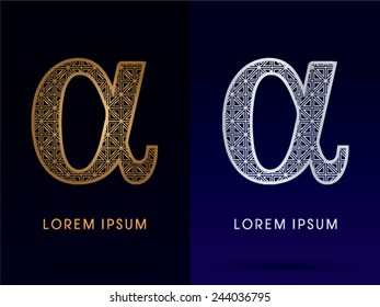 Alpha sign,Luxury font ,gold and diamond, logo, symbol, icon, graphic, vector .