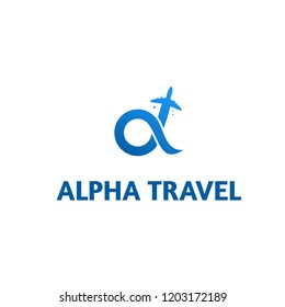 alpha travel logo and vector