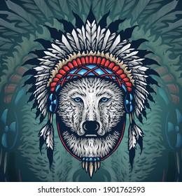 Alpha Wolf Native America Chief