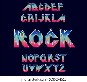 Alphabet 80's retro font. Fire flame burning fonts. Vector typography for flyers, posters. Fiery Effect shiny letters. 80s metallic style, vintage.Retro Rock Font Alphabet. 3d logo set elements design
