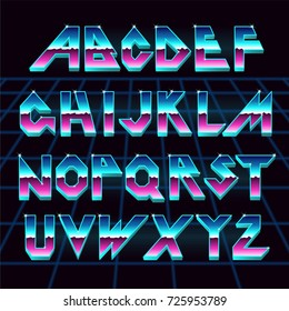 Alphabet 80's retro font.Vector typography for flyers,headlines, posters.Effect shiny letters. 80s neon style,vintage dance night.Retro Futurism Sci-Fi Font Alphabet Vector.3d logo set elements design