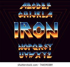 Alphabet 80's retro font.Vector typography for flyers, posters. Iron Effect shiny letters. 80s metallic style,vintage metal.Retro Futurism Sci-Fi Font Alphabet Vector.3d logo set elements design