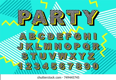Alphabet 90's retro font.Vector typography for flyers,headlines, posters.Effect shiny letters. 80s neon style,vintage dance night.Retro Font Alphabet Vector. 3d logo set elements design